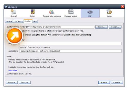 Cómo configurar un proyecto en Symfony con Netbeans 6.9